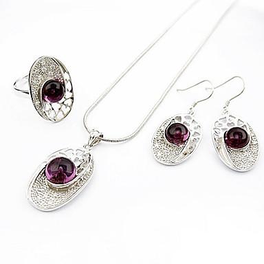 luxuriöse lila Achat zweiteiligen Sterling Silber Oval Damen Halskette und Ohrringe Schmuck-Set