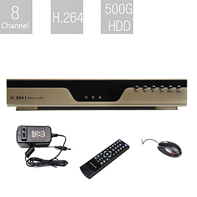 de nivel de entrada de 8 canales DVR (500g disco duro, compresión H.264, red)