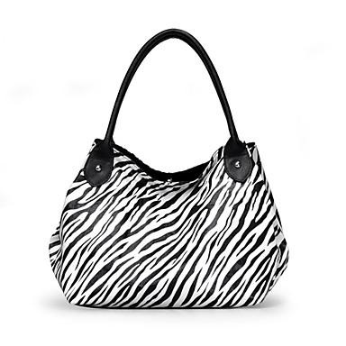 zebra stribe blomsterprint magnetisk lukning skuldertaske (22cm * 15cm * 1 cm)