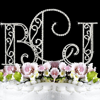 Kagedekorationer Have Tema Monogram Klassisk Par Bryllup Jubilæum Fødselsdag Polterabend 15- og 16-års fødselsdage med Bjergkrystal OPP