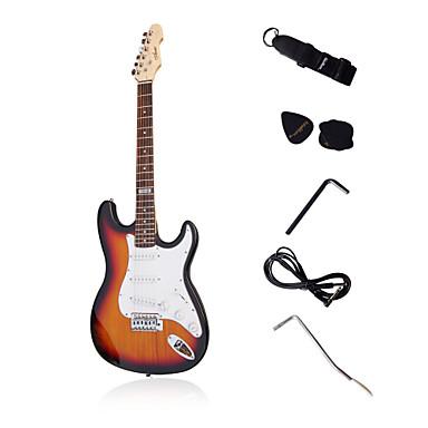 stratégie personnalisée guitare électrique avec des accessoires en coucher de soleil / crème / rouge / noir