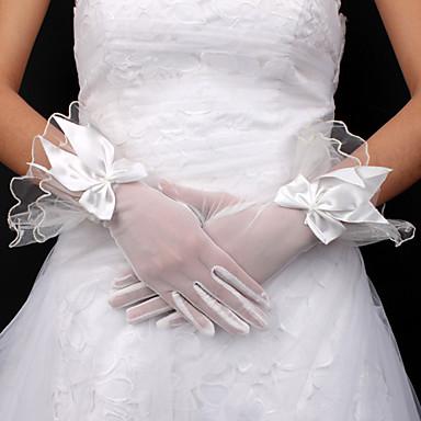 Tulle Bridal Fingertips Wrist Length Gloves