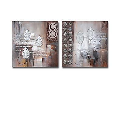 håndmalt abstrakt oljemaleri med strukket ramme - sett med 2