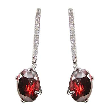 favolosa platino rosso placcato con forma rotonda cubi orecchini zirconia