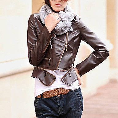 Long Sleeve Turndown Collar Evening/ Office PU Jacket With Pockets/ Buttons (More Colors)