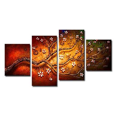 Ručno oslikana Cvjetni / Botanički bilo koji oblik Platno Hang oslikana uljanim bojama Početna Dekoracija Četiri plohe