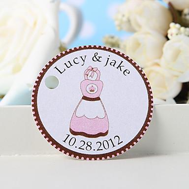 personalisierte Gunst Tag - rosa Schürze (Set von 36) Hochzeitsbevorzugungen