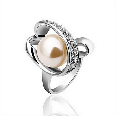 precioso oro 18k gran anillo de perlas de cristal de la moda