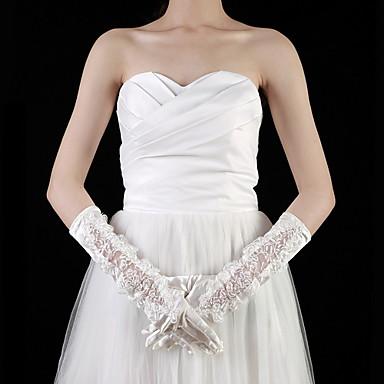 아플리케와 새틴 / 레이스 팔꿈치 길이 손끝의 신부 장갑 (자세한 색)