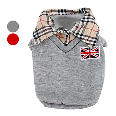 Dog Shirt / T-Shirt Dog Clothes British Gray Red Cotton Costume For Pets Men's Classic