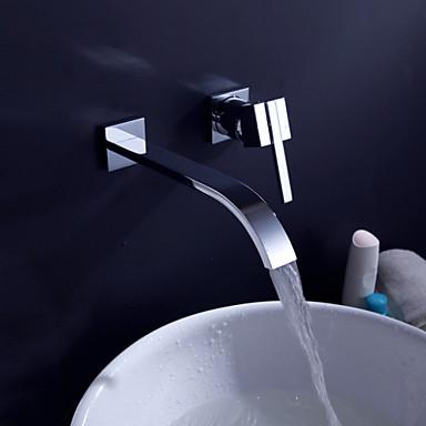 Çağdaş Ayrılmış Gövdeli Yaygın Seramik Vana İki Kolları İki Delik Krom, Banyo Lavabo Bataryası