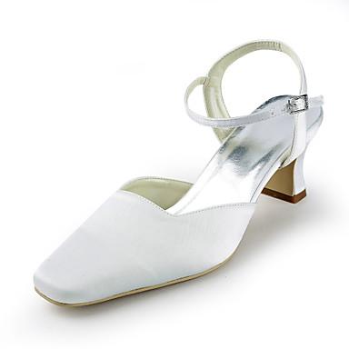 kvinners sko silke flat hæl hæler / rund tå hæler bryllup / fest& kveld / kjole hvit