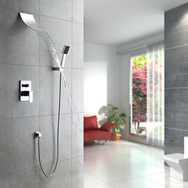Contemporary Shower System Waterfall Handshower Included
