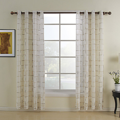 Tab Top Two Panels Curtain Mediterranean, Jacquard Plaid/Check Bedroom Poly / Cotton Blend Material Home Decoration