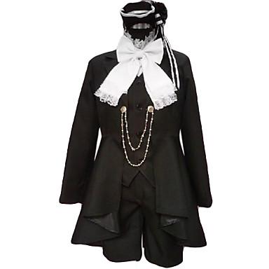 Esinlenen Black Butler Ciel Phantomhive Anime Cosplay Kostümleri Cosplay Takımları Kırk Yama Uzun Kollu Kravat Palto Yelek Gömlek Şort