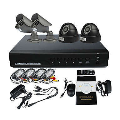 Surveillance Security System With 2 Outdoor Warterproof Camera Night Vision And 2 Indoor Night Vision Camera