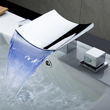 Contemporary Widespread Waterfall LED with  Ceramic Valve Three Holes for  Chrome , Bathroom Sink Faucet