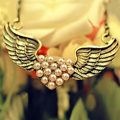 Women's Wings / Feather Heart Love Pendant Necklace Statement Necklace Alloy Pendant Necklace Statement Necklace ,