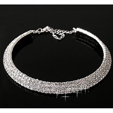 billige Mote Halskjede-Syntetisk Diamant lagdelte Hals stardust Statement damer Fritid Fødselsstein Diamant Legering Sølv Skjermfarge Halskjeder Smykker Til