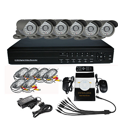 Surveillance Security System met 6 Openlucht Night Vision Camera (H.264)