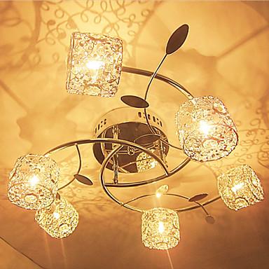 6-Işık Sıva Altı Monteli Aşağı Doğru Eloktrize Kaplama Kristal 110-120V / 220-240V Ampul Dahil / G4