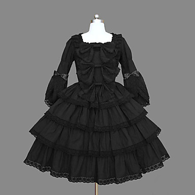 One-Piece/Dress Classic/Traditional Lolita Vintage Inspired Cosplay Lolita Dress Vintage Long Sleeve Medium Length Dress For Cotton