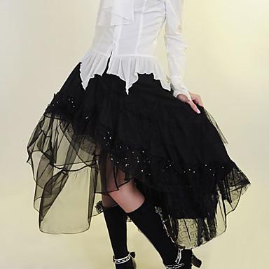 Floor-length Black Cotton Gothic Lolita Skirt