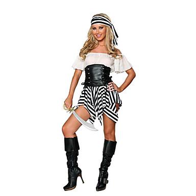 Pirát Cosplay Kostýmy Kostým na Večírek Dámské Halloween Karneval Nový rok Festival / Svátek Halloweenské kostýmy černá/bílá Patchwork