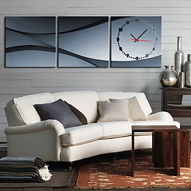 Modern Scenic Wall Clock in Canvas 3pcs K0008