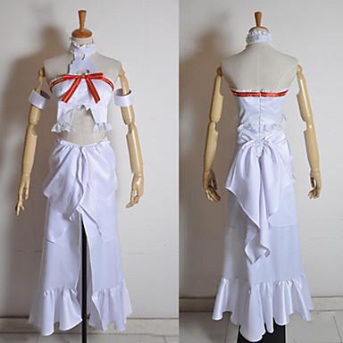 Inspireret af Sword Art Online Asuna Yuuki Anime Cosplay Kostumer Cosplay Kostumer Patchwork Uden ærmer Top Kjole Armbind Til Dame