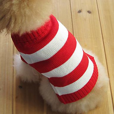Kissa Koira Neulepaidat Koiran vaatteet Raita Punainen Puuvilla Asu Lemmikit Miesten Naisten Muoti Joulu