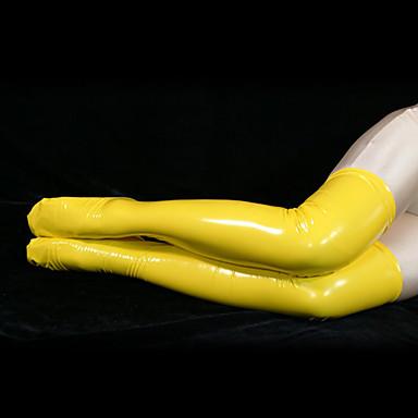 Çoraplar Ninja Zentai Cosplay Kostümleri Sarı Solid Uzun Çorap PVC Erkek Kadın's Cadılar Bayramı