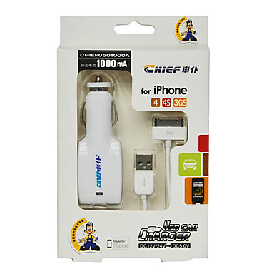 Car Charger for iPhone 4/4S/3GS, DC12/24V to DC5V