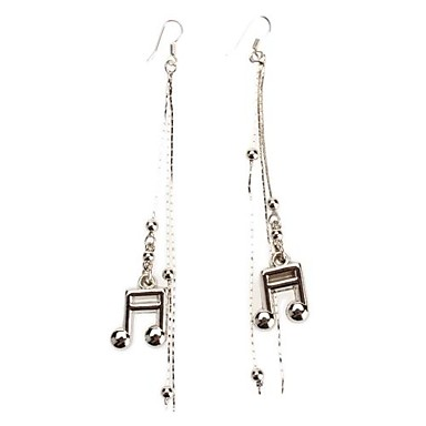 Women's Drop Earrings Tassel Stainless Steel Platinum Plated Alloy Music Notes Jewelry Daily