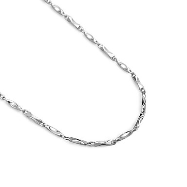 Simple 925 Sterling Silver Ingot Chain Necklace