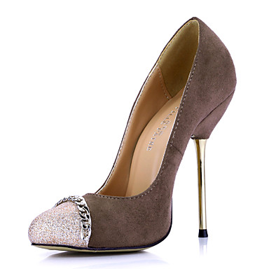 Stylish Suede Stiletto Heel Pumps With Sparkling Glitter Party / Evening Shoes