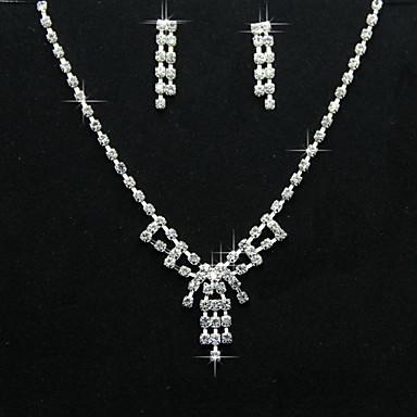 aliaj uimitoare de design simplu, cu un set de bijuterii stras femei, inclusiv colier, cercei