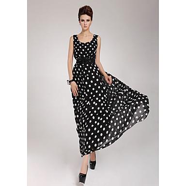 Vrouwen Chiffon Belted Stippen Maxi Dress