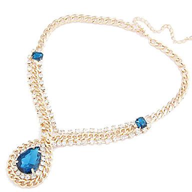 Women's Vintage Royal Diamond Drop Big Gemstones Necklace