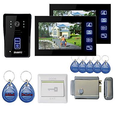 7 inç renkli eller serbest video kapı telefonu 2 monitörlü gece görüş rfid keyfobs elektronik kontrol kilidi