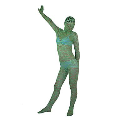 Green Flower Pattern Lace Full Body Zentai