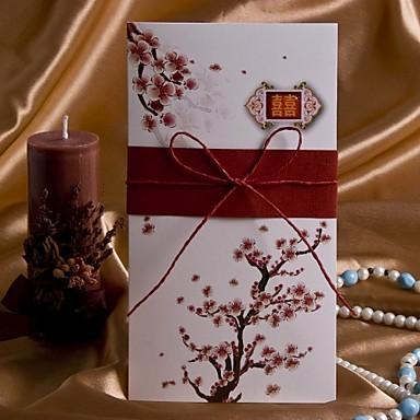 Sivulta taitettu Hääkutsut Kutsukortit Tateellinen tyyli Kukka-aiheen tyyli Korttipaperi 8 ½