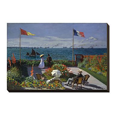 La Terrazza a Sainte-Adresse, 1867 da Claude Monet Famosa Stampa trasferimenti su tela