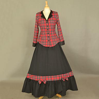 One-Piece/Dress Classic/Traditional Lolita Lolita Cosplay Lolita Dress Patchwork Long Sleeve Long Length Coat Dress For Cotton