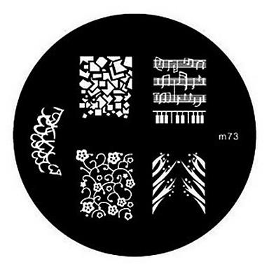 4adet Sevimli tırnak sanatı Manikür pedikür Metal Çiçek / Soyut / Klasik Günlük / damgalama Plaka