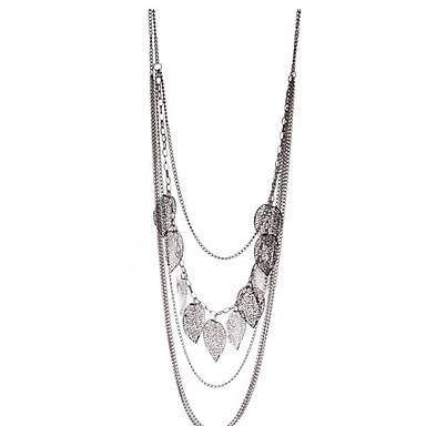 feuille de cru des femmes décorées long collier