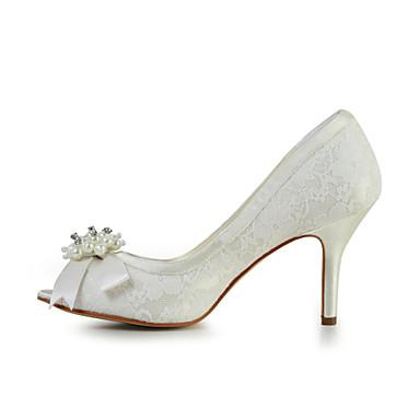 Aiguille Elastique Imitation Printemps Talon Ivoire Femme Satin Blanc 00648203 Satin Mariage Noeud Chaussures Perle Noir Eté wtWz10q