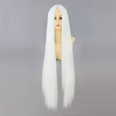 Pelucas de Cosplay Hakuouki Senhime Ashura Blanco Videojuegos de anime Pelucas de Cosplay 40 pulgada Fibra resistente al calor Mujer Pelucas de Halloween