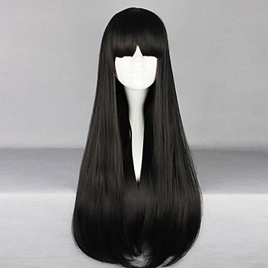 Lolita Peruklar Yumeko Jabami Siyah Lolita Düz Lolita Peruklar 28 inç Cosplay Perukları Solid Peruk Cadılar Bayramı Peruk