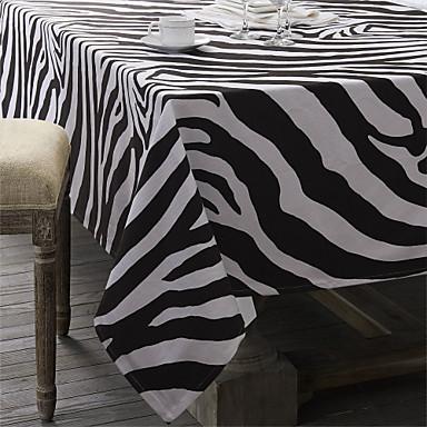 Noir / Blanc cassé 100% Coton Rectangulaire Nappes de table